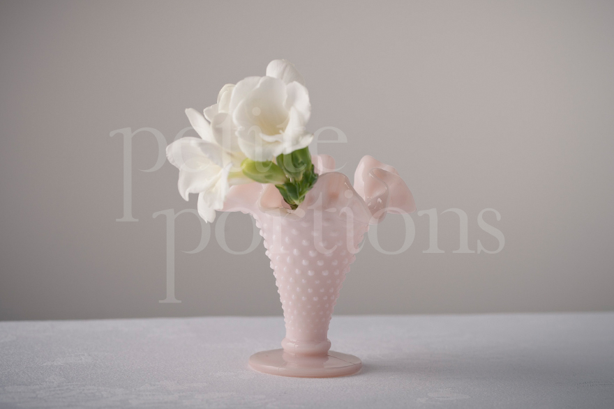 Vases - Hobnail Ruffled Cone Vase - Small Pastel Pink