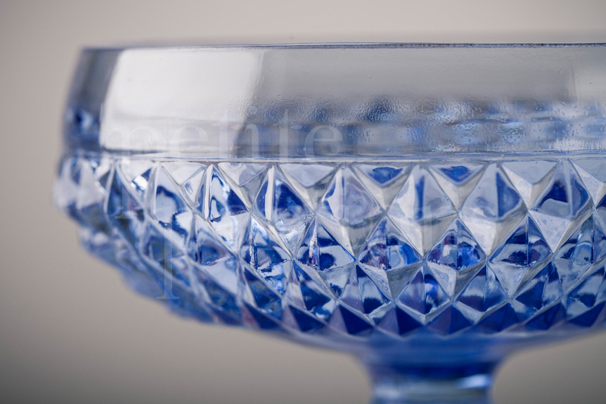 Compotes & Bowls - Diamond Point Open Compote - Ice Blue