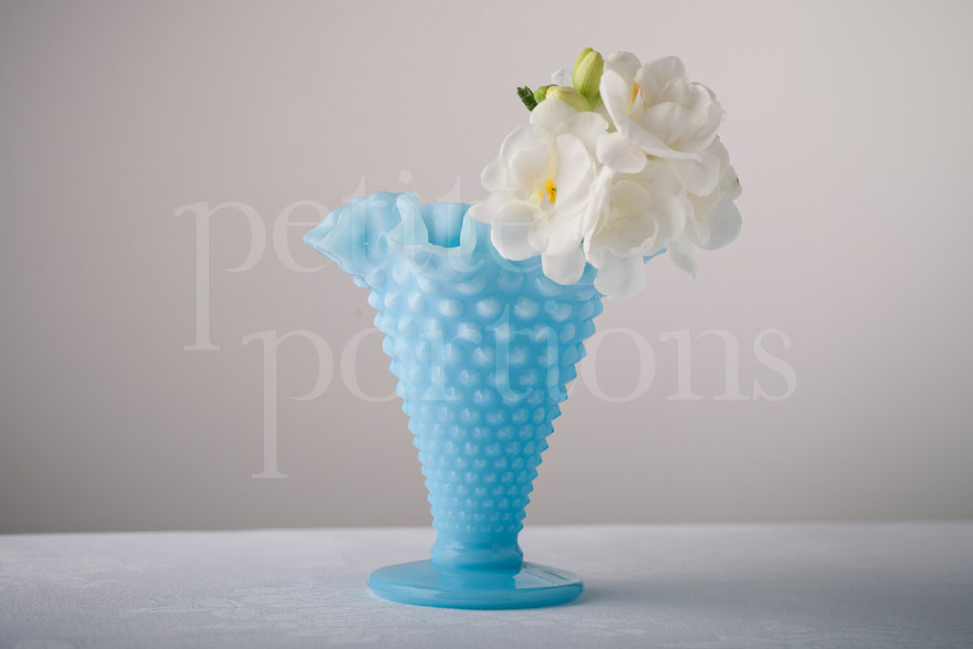 Vases - Hobnail Ruffled Cone Vase - Large Bright Blue
