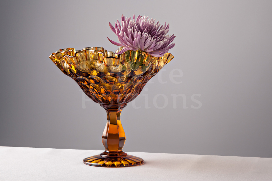 Compotes & Bowls - Ruffled Thumbprint Large Compote - Amber
