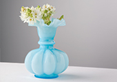 Vases - Opalescent Double Ruffled Large Vase - Blue