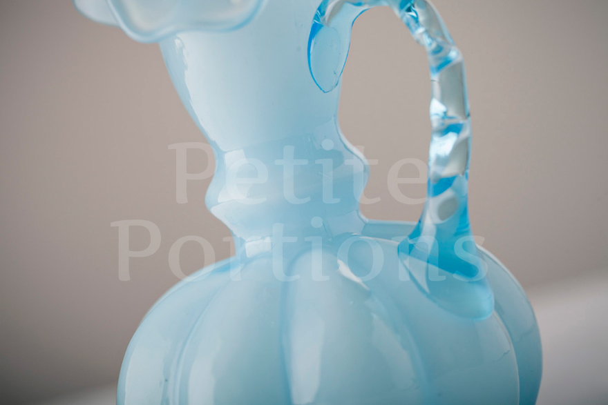 Vases - Opalescent Double Ruffled Handled Vase - Blue