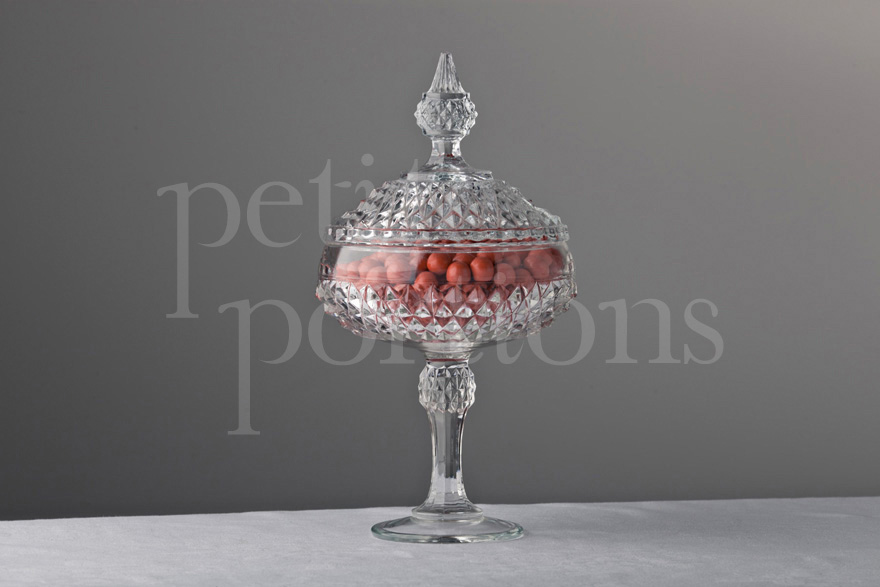 Compotes & Bowls - Diamond Point Lidded Compote