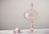 Compotes & Bowls - Diamond Point Lidded Compote - Pink