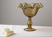 Compotes & Bowls - Fancy Ruffled Hobnail Compote - Amber